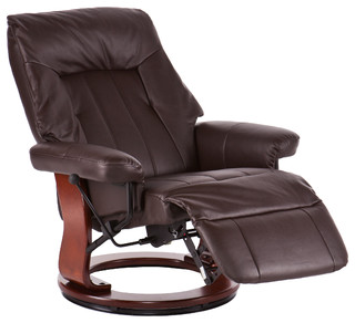 Upton Home Hallowell Kona Brown Recliner W Hidden Ottoman Contemporary Recliner Chairs By