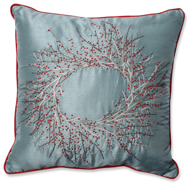 Pillow Perfect Christmas Wreath 18-inch Throw Pillow - Contemporary - Decorative Pillows - by ...