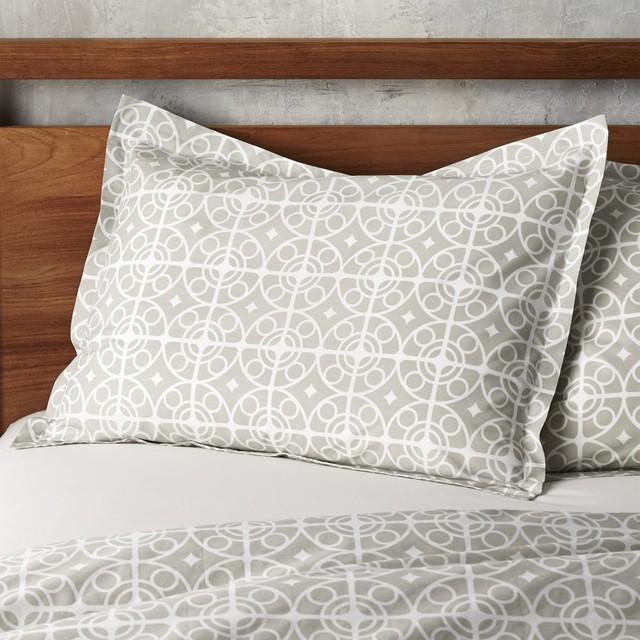 Taza Grey Standard Sham Contemporary Pillowcases And Shams