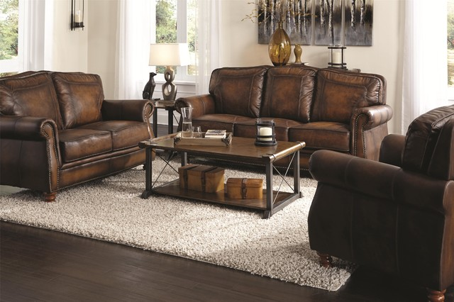 Coaster 3 Pieces Montbrook Brown Traditional Sofa Set Living Room Furniture