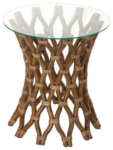 Hoop rattan side table tropical side tables and end for Hoop coffee table