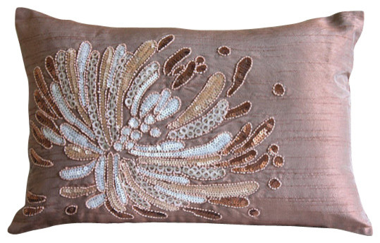 Fading To Light Brown Silk Throw Pillow Cover, 12x12 - Contemporary - Decorative Pillows - by ...