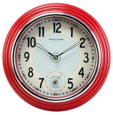 Retro Kitchen Wall Clock Red Traditional Clocks By Target