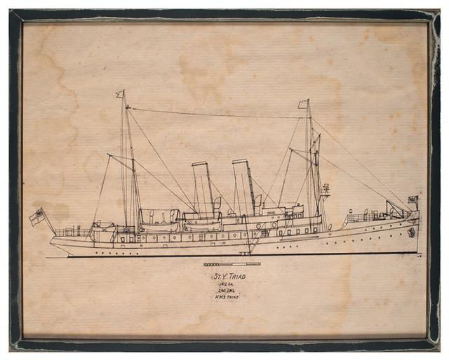 Auction House Coastal Beach Triad Boat Blueprint Rustic Wall Art, Framed traditional-prints-