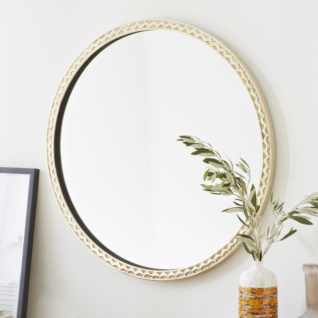Thin textured round mirror mediterranean wall mirrors for Thin wall mirror