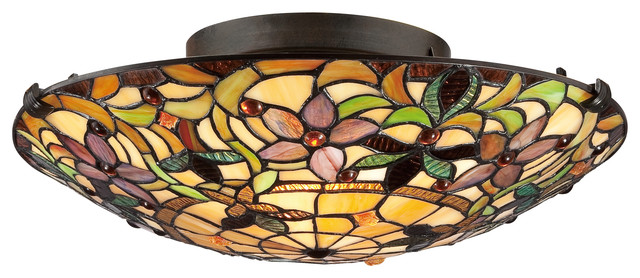 Tiffany-style 2-light Vintage-bronze Stained-glass Flush Mount - Victorian - Bathroom Vanity ...