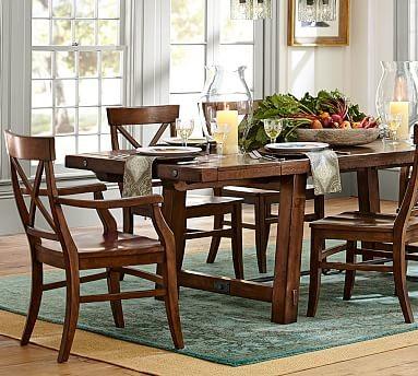benchwright extending rectangular dining table alfresco brown finish 3