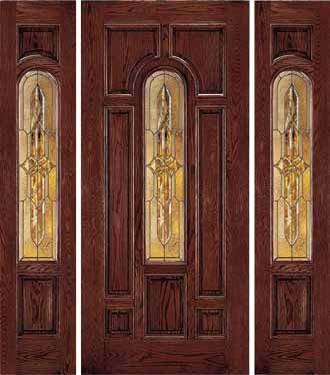 Jeld Wen 225 Oak Door And Sidelights Dark Cherry Finish