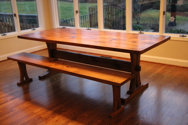 Reclaimed Oak Trestle Table and Bench Modern Dining  : modern dining tables from www.houzz.com size 640 x 426 jpeg 73kB