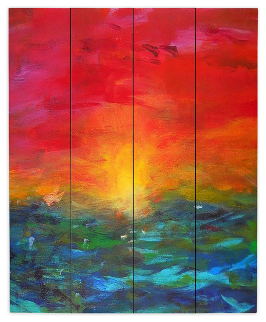 Dianoche Wood Plank Wall Art By Jackie Phillips Rainbow Sunset