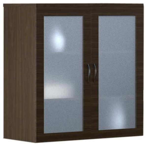 Decorative Wall Shelves With Doors : Display cabinet with glass doors mocha contemporary