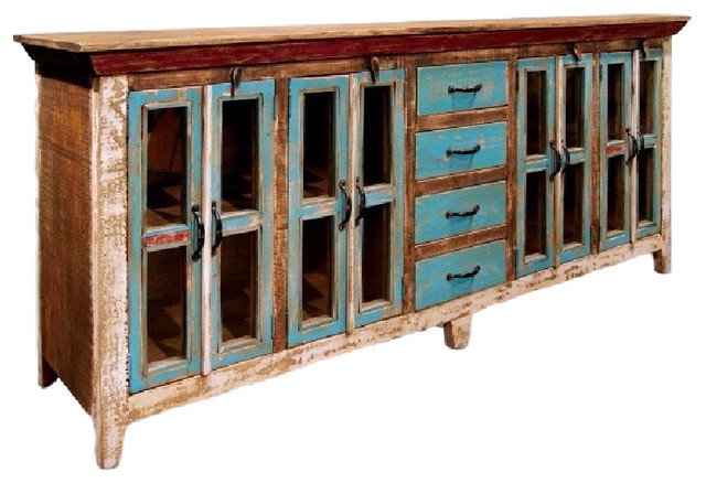 Rustic Distressed Reclaimed Solid Wood Sideboard Curio