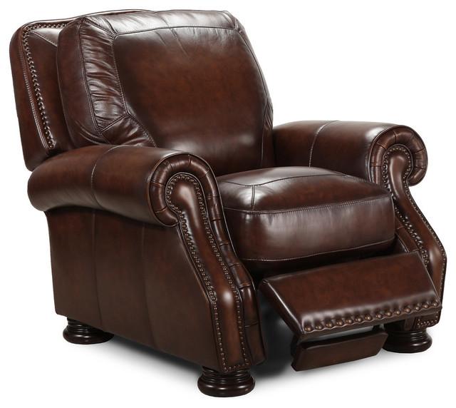 Simon li traditional brown leather recliner traditional for Traditional brown leather couch
