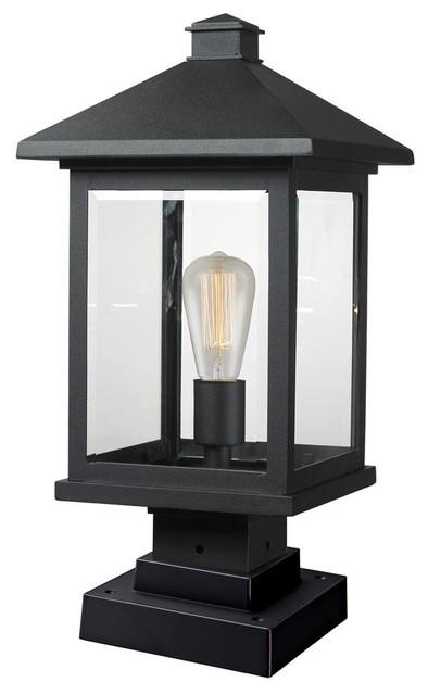 Outdoor pier mount light in black contemporary post for Contemporary outdoor post light fixtures