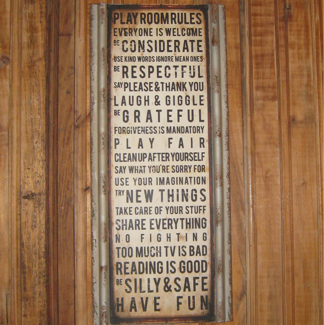 Playroom Rules Metal Plaque Eclectic Kids Wall Decor
