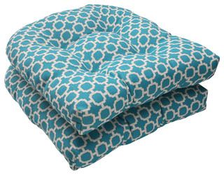 Hockley wicker seat cushion set of 2 teal mid century - Aufbewahrung gartenpolster ...