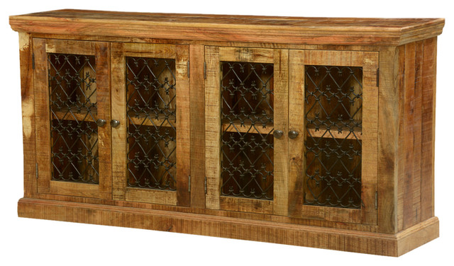 Twisted hearts grille wood and iron buffet sideboard