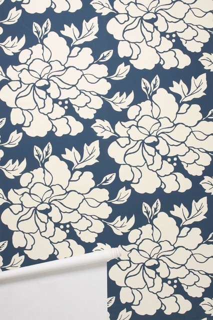 Paeonia Wallpaper Navy Contemporary Wallpaper By
