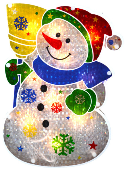 Lighted double sided holographic snowman christmas window for 16 lighted snowflake christmas window silhouette decoration