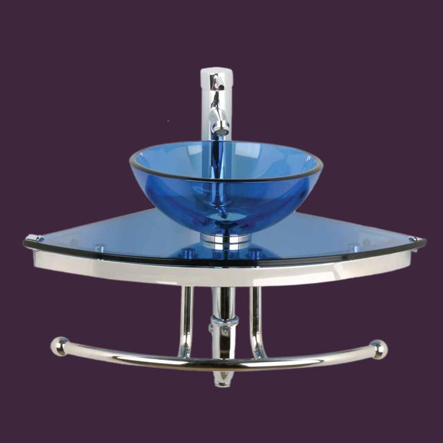 Glass Wall Mount Sink : Corner Sinks Blue Glass Mini Wall Mount Vessel Corner Sink 10890 ...