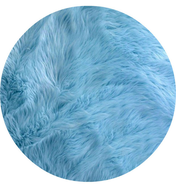 Fur Accents Round Area Rug Premium Shag Faux Fur, Sky Blue