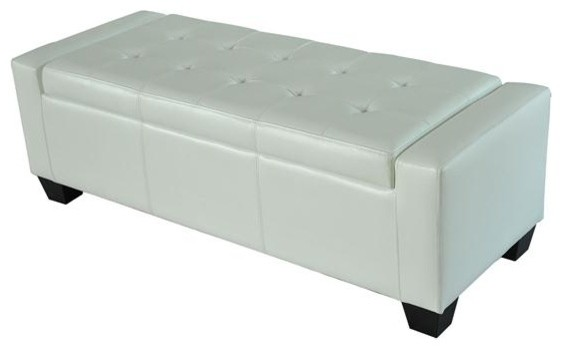 Homcom Faux Leather Storage Ottoman Shoe Bench White Modern Accent And Storage Benches
