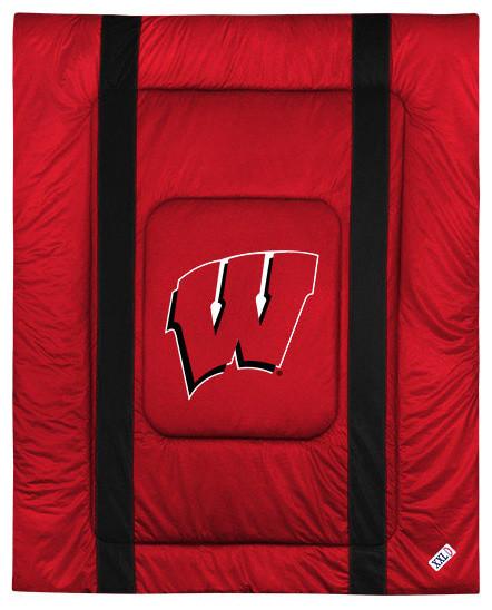 Ncaa Wisconsin Badgers Queen Comforter Sidelines College Bed Contemporary Comforters And