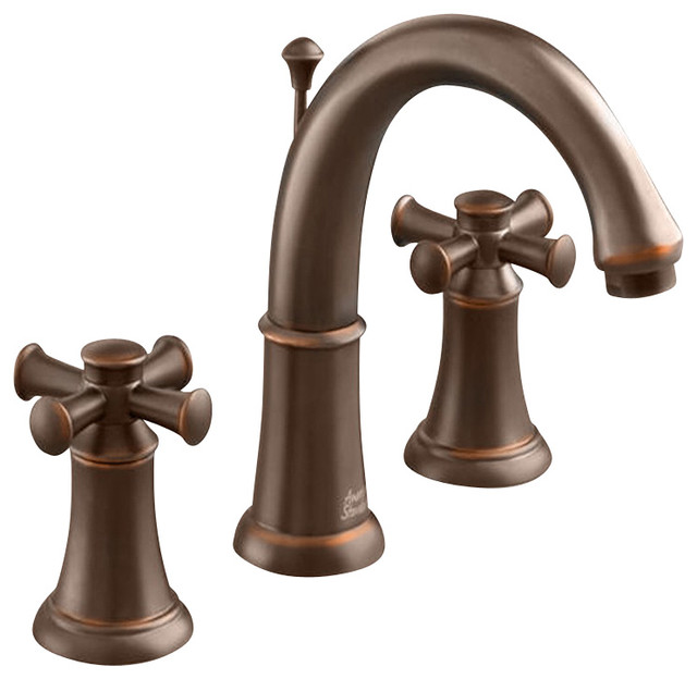 Portsmouth Widespread Two Cross Handle Bathroom Faucet In Oil Rubbed Bronze Contemporary