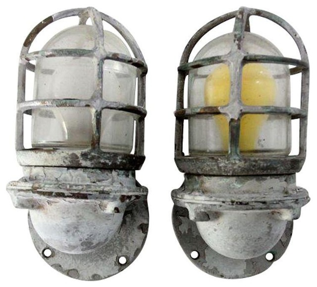 Vintage Pauluhn Ship Lights Boat Sconces - A Pair - Industrial - Wall Sconces