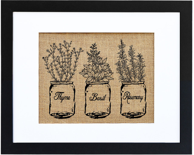 Ball Jar Of Kitchen Herbs Burlap Wall Art Modern Black