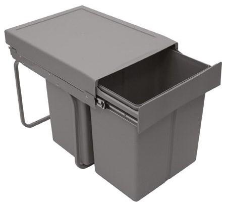 Alitri poubelle 2 bacs de 21 l grise contemporain - Poubelle recyclage cuisine ...