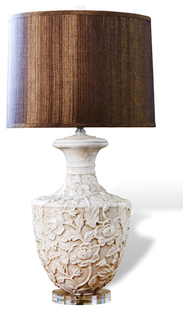 kendall shabby chic floral urn wood shade lamp table lamps by. Black Bedroom Furniture Sets. Home Design Ideas