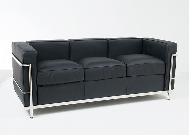 Le corbusier lc2 petite sofa reproduction modern sofas other metro by modern classics Le corbusier lc2 sofa