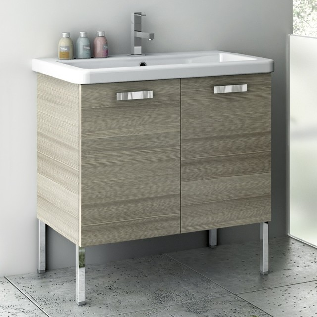 30 Inch Vanity Cabinet With Fitted Sink Contemporary Bathroom Vanities An