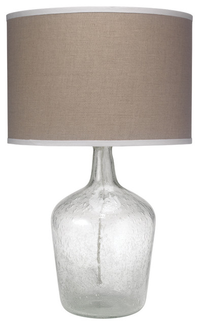 Medium Plum Jar Table Lamp Clear Seeded Glass With Classic Drum Shade Cont