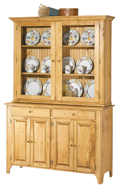 666838 Hutch Unfinished Pine Walden Glass Top Only - Traditional - China Cabinets And Hutches ...