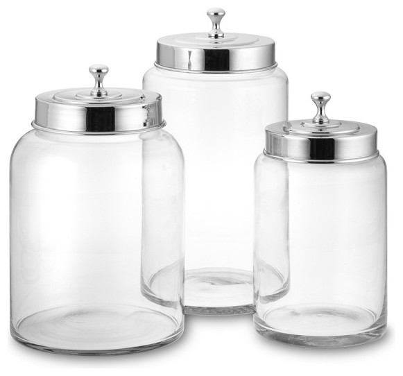 glass canister contemporary kitchen canisters and jars
