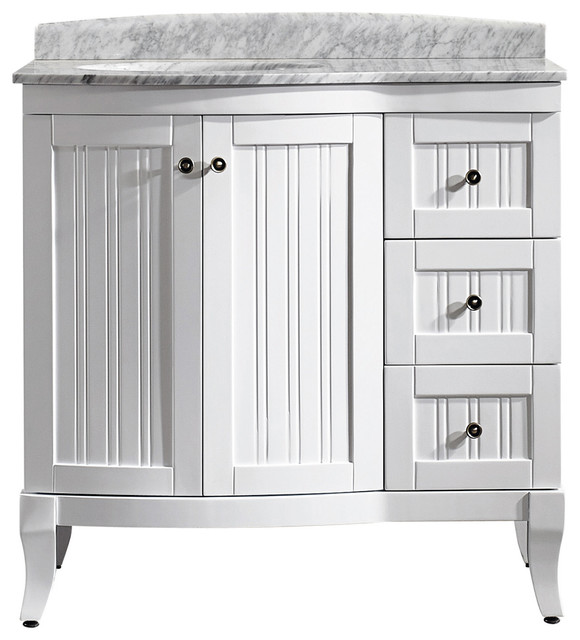 Verona Six Single Vanity Espresso With Carrera White Marble Top With Mirror Transitional