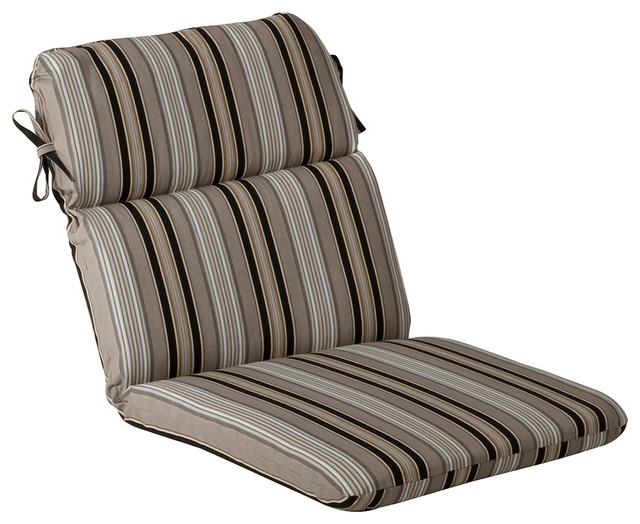 Black white stripe outdoor chair cushions indoor outdoor for Black and white striped chaise lounge cushions