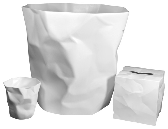 Wastebasket tissue box holder and cup set modern for Bathroom wastebasket sets