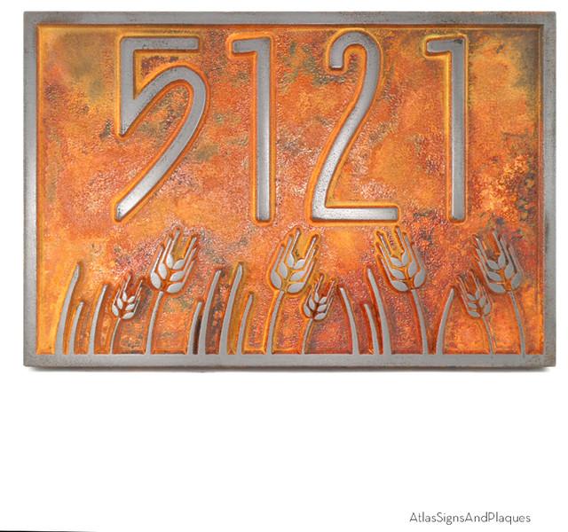 wheat field address plaque 12 x 8 in iron rust arts. Black Bedroom Furniture Sets. Home Design Ideas