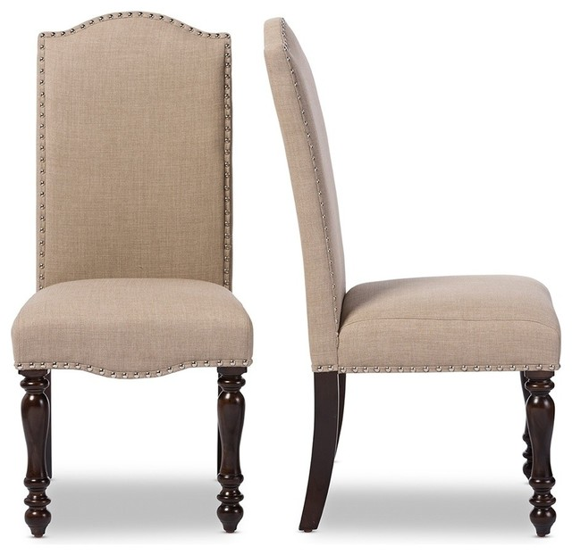 Beige linen fabric upholstered dining chairs oak brown for Upholstered linen dining chairs