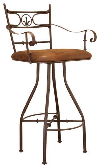 Artisan home 24 inch swivel barstool with arms and microfiber seat traditional bar stools Artisan home furniture bar stools