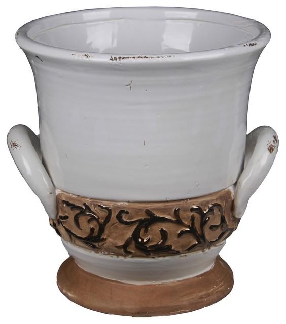 Privilege International White Ceramic Urn With Handles