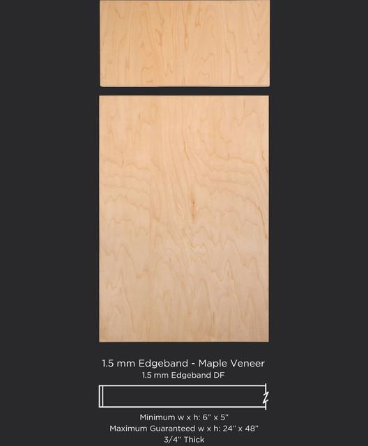 Slab cabinet door style with maple wood veneer for Wood veneer kitchen doors