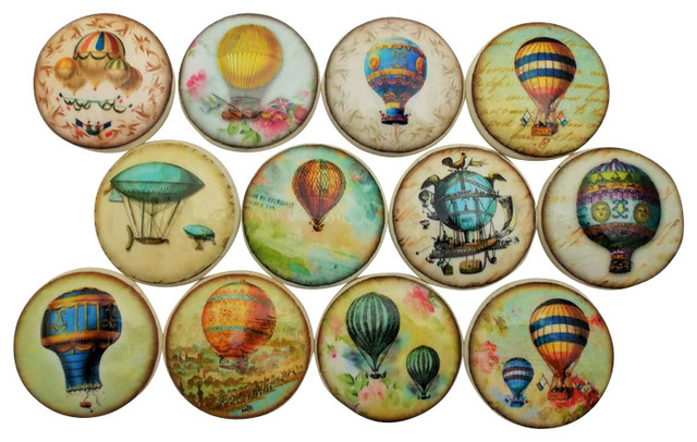 Set of 12 Hot Air Balloon Cabinet Knobs - Contemporary - Cabinet And Drawer Knobs - by Twisted R ...