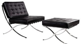 Bellatrix modern black leather x leg chair and ottoman - La chaise longue saint lazare ...
