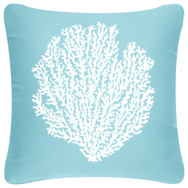 Coral Sea Fan Decorative Square Throw Pillow - Beach Style - Decorative Pillows - by Wabisabi Green