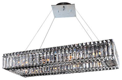 baguette chrome 10 light rectangular island pendant contemporary pendant lighting by bellacor. Black Bedroom Furniture Sets. Home Design Ideas