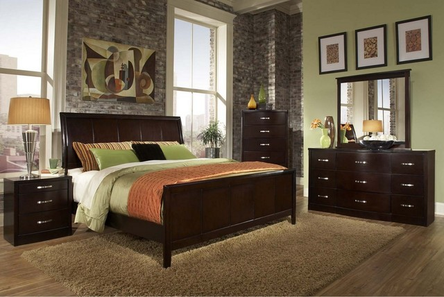 Espresso King Size Bedroom Set 1174 Transitional